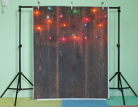 Life Magic Box Vinyl Photo Backdrop Lights on Wood Background Brown Backdrop Backdrop Design