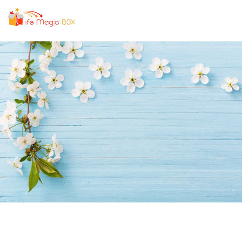 Background Photography Studio Baby Blue Wood Floral Backdrop White Flower Baby Backdrop