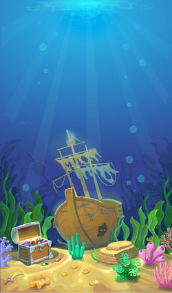 LIFE MAGIC BOX Background Photography Under Sea Bacdrop Treasure Box Sailboat Treat Children Birthday