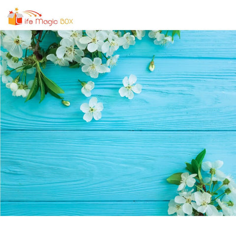 Photo Background Wood Floral Backdrop Blue Photography Wood Cake Coffee Photobooth