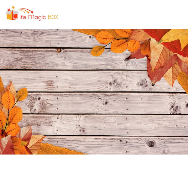 LIFE MAGIC BOX Photographic Backgrounds Yellow Leaves Wood Board Vinyl Wedding Photocall Backdrops