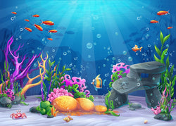 LIFE MAGIC BOX Photography Backdrops Under Sea Red Fish Baby Party Photo Background
