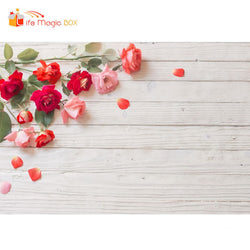 Photophones Wood Floral Backdrop White Red Rose Photography Food Cake Coffee Photobooth
