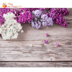 Photophones for Photos Wood Floral Backdrop Purple White Flowers Background Photography