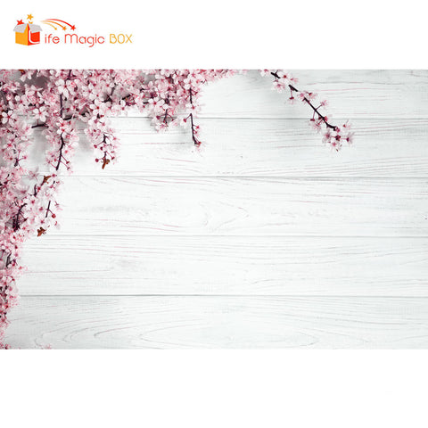 Photoshoot Background Wood Board Flower White Backdrops Photophone Product Cloth Photography