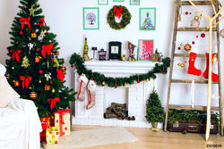 LIFE MAGIC BOX Wrinkle-free Washable Christmas Tree Backdrops Fireplace Photo Background