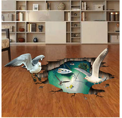 2pcs/set Wall Stickers Floor Stickers for Studio Cafes Bedroom Background Removable Sticker Seagulls