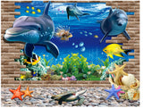 2Pcs/Set Plane 3D Underwater World Scrub Uv Self - Adhesive Fashion Wall Stickers Floor Stickers