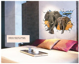 2Pcs/Set 3D Elephant Living Room Bedroom Large Wall Stickers Floor Stickers Removable Pvc