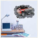 2Pcs/Set Break Through The Wall Wall Stickers Floor Stickers Car Removable Wall Stickers