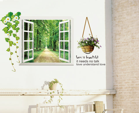 2Pcs/Set Fake Windows Trees Wall Stickers Living Room Bedroom Background Waterproof Windows Stickers