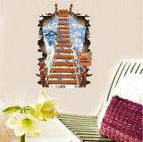 2Pcs/Set Sky Staircase Plane 3D Pvc Self-Adhesive Bedroom Personality Floor Wall Stickers Waterproof