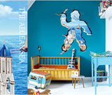 2Pcs/Set Aegean 3D Personalized Fashion Floor Stickers Wall Stickers