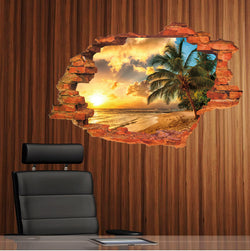 2Pcs/Set Pvc Waterproof Floor Stickers Wall Stickers Removable Sunset Seaview Coconut Tree