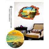 2Pcs/Set Pvc Waterproof Floor Stickers Wall Stickers Removable Sunrise Seaview Coconut Tree