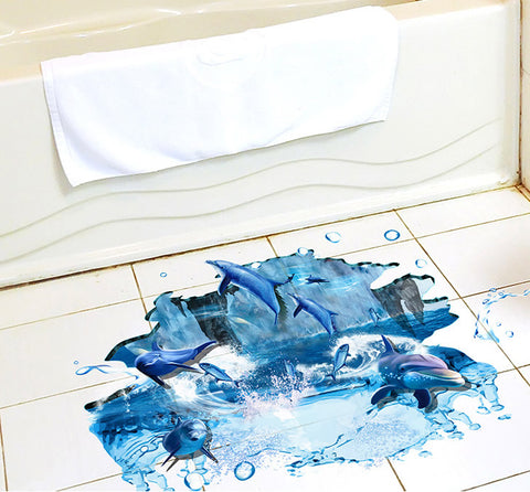 2Pcs/Set 3D Floor Posts Early Floor Stickers Sea Jump Dolphins Environmental Wall Stickers