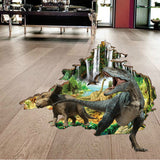 2Pcs/Set Dinosaur 3D Wall Stickers Cartoon Children Room Boy Bedroom Decoration Floor Stickers