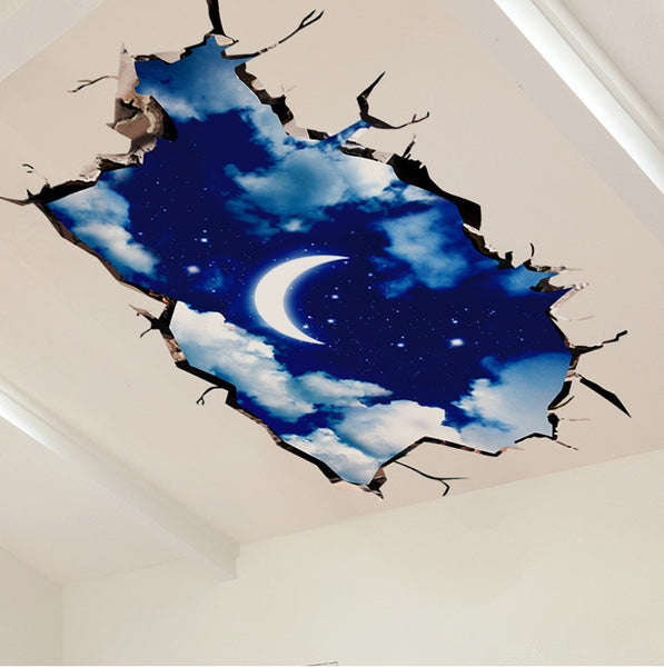 2Pcs/Set Living Room Ceiling Wall Stickers Floor Stickers Sofa TV Background Decorative 3D Stickers