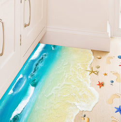 2Pcs/Set Blue Beach Floor Sticker Bedroom Living Room Decorative Sticker Pvc Removable Wall Stickers