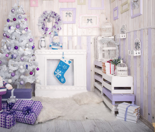 LIFE MAGIC BOX Vinyl Purple Christmas Photo Backdrops Winter Photo Booth Backdrop Backgrounds