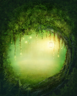 LIFE MAGIC BOX Silk Like Fairy Tale Forest  Green Background Newborn Photography Backdrop Design