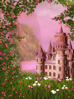 LIFE MAGIC BOX Vinyl Fairy Tale Castle Cool Backgrounds for Photos Pink Wallpaper Backdrop