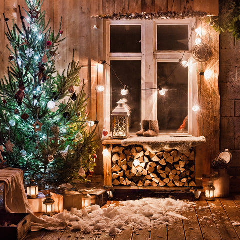 Christmas Trees Wood House Backdrops Vintage Photography Backgrounds Family Holiday Photo Booth