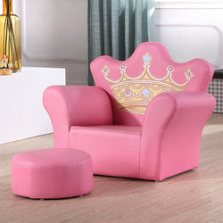 Children's Sofa Cute Princess Crown Small Sofa Cartoon Pink Gold Treasure Kid Chair Kindergarten Mini Baby Sofa Stool Photography Props