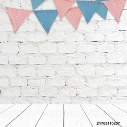 LIFE MAGIC BOX Vinyl White Brick Wall Backdrop Flag Wood Floor Birthday Background Party Backdrop