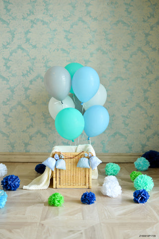 Birthday Balloons Backgrounds Blue Backdrops Cute Tablecloth