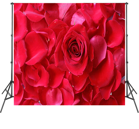 Big Flowers Photography Backdrops Red Rose Photoshoot Backdrops Vinyl Polyester Video Photo Booth