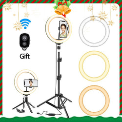 LED Selfie Ring Light With Tripod USB Dimmable Ring Lamp Big Photography Ringlight With Stand