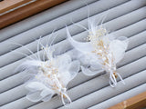 2pcs / Set Feather Crepe Flower Hair Clip Bridal Wedding Hair Ornament Flower Headdress Hairpin