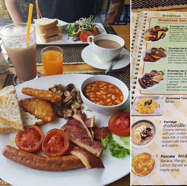 Epic 100% vegan English breakfast at Vegan Heaven in Chiang Mai - VomadLife.com