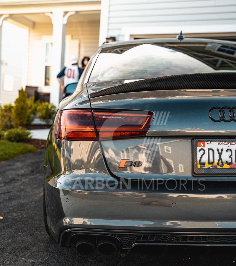 Audi A6/S6 Carbon Fiber Trunk Lip 2012-2018 HighKick Version