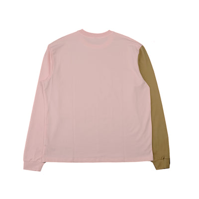 Contrast Long Sleeves Tee Pink