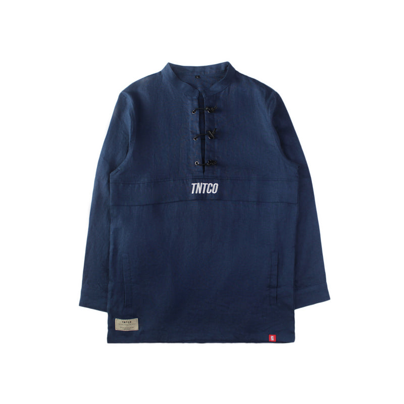 NAVY LINEN CHINESE PARKA