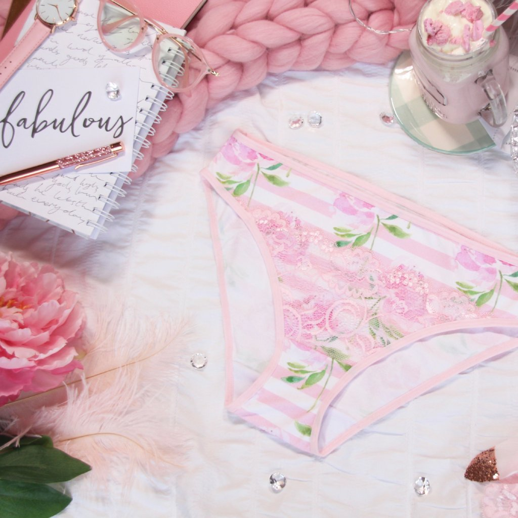 Lacy High Leg Pink Striped Panties from the 'Blossoms Up' Collection