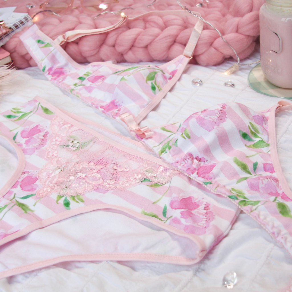 Pink Striped Lacy Hipsters from the 'Blossoms Up' Collection