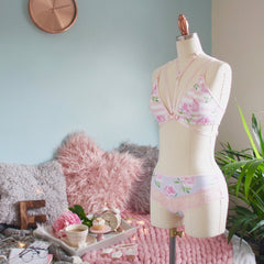 Low Front Pink Striped Bra from the 'Blossoms Up' Collection