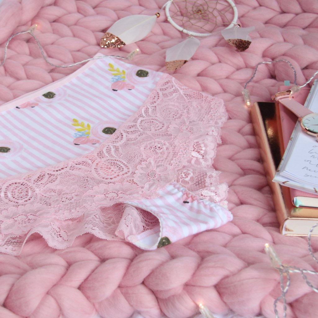 Lace Panelled Pink High Waist Panties from the 'Let The Eat Candy' Collection
