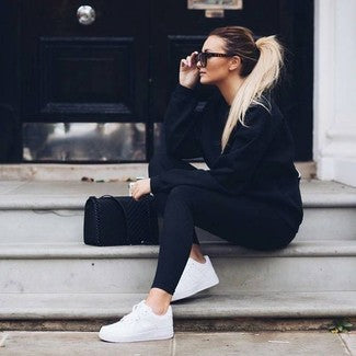 Crew Neck Sweatshirt with Black Leggings & White Sneakers