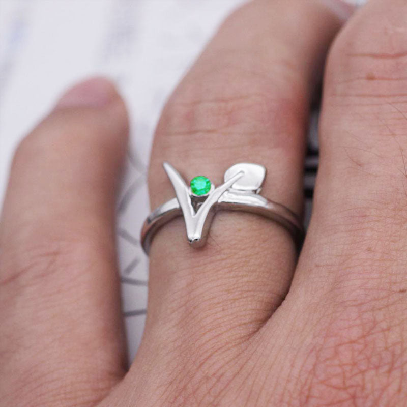 Vegan Green Stone Vegetarian Symbol Ring - FEUZY