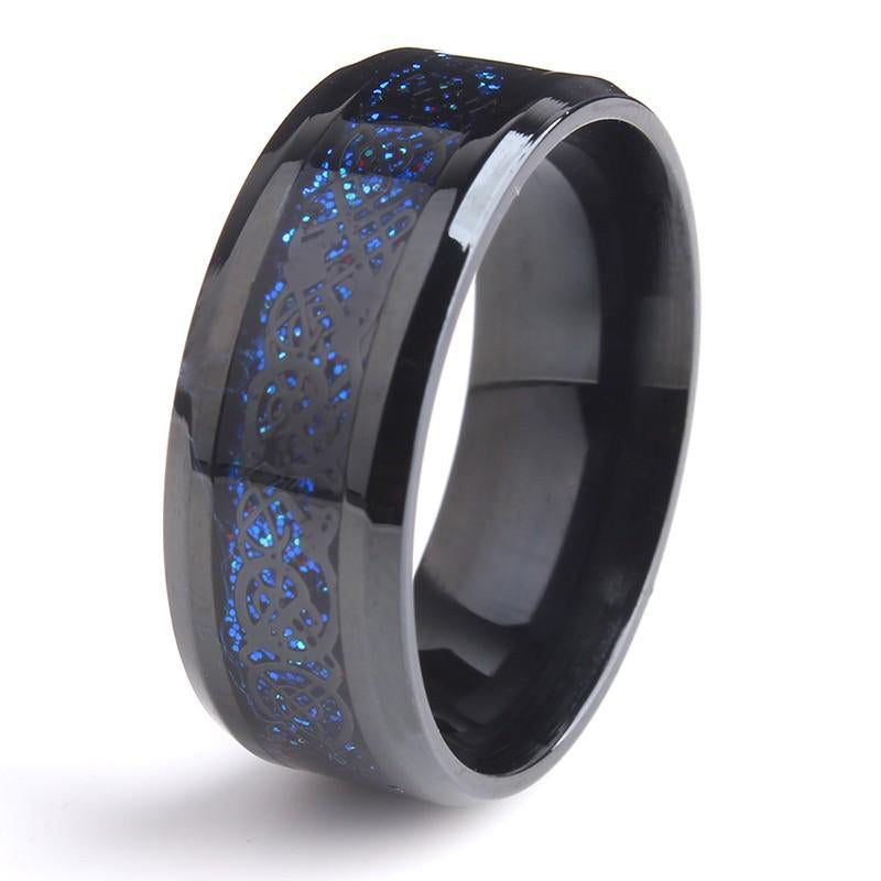 8mm Black Hollow Blue Dragon Stainless Steel Rings for Men/Women - FEUZY