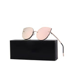 Women Cat Eye Sunglasses with Rimless Metal Frame - FEUZY