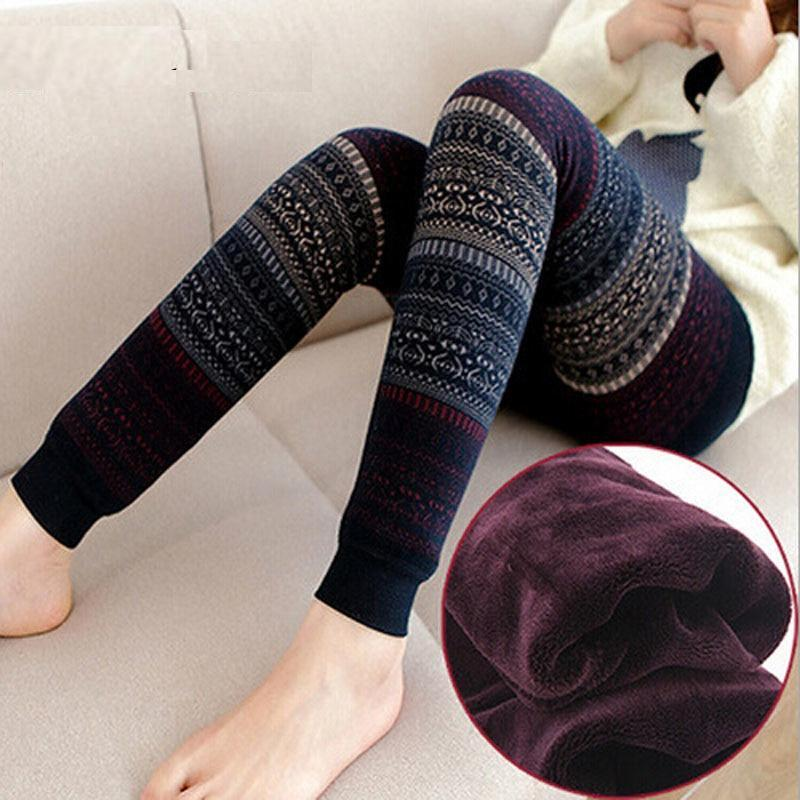 Warm Knitted Winter High Waist Velvet Leggings