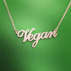 Silver Plated Letters Vegan Necklace - FEUZY