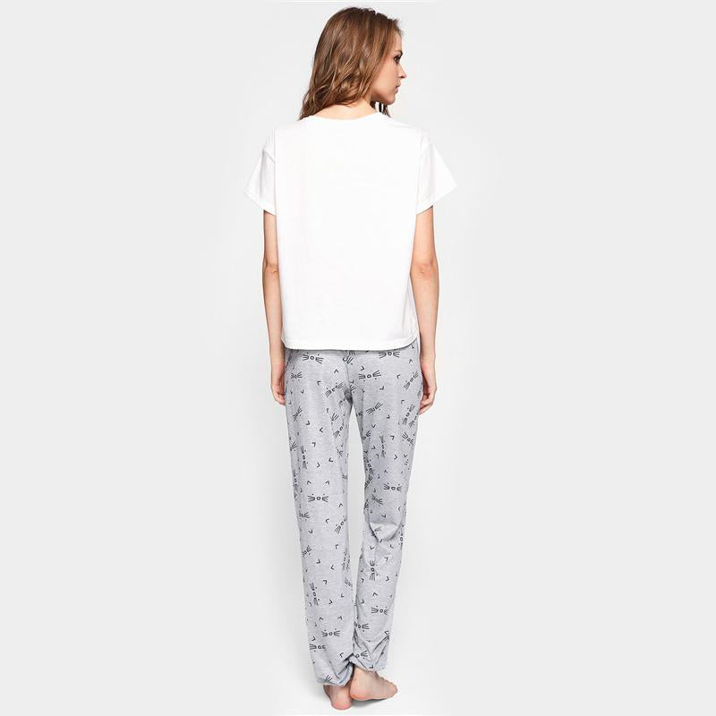 Cat Pattern Print Round Neck Top and Pants Pajama Set - FEUZY