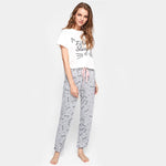 Cat Pattern Print Round Neck Top and Pants Pajama Set