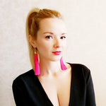 Vintage Ethnic Long Dangle Drop Tassel Earrings Women